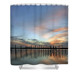Shower Curtain featuring the photograph sunset marina Everglades by Dan Friend