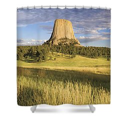 Sunset On Devils Tower Wyoming United Shower Curtain by Philippe Widling