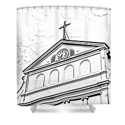 Sunset On St Louis Cathedral In Jackson Square French Quarter New Orleans Photocopy Digital Art Shower Curtain by Shawn O'Brien