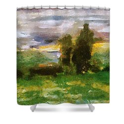 Sunset On The Road - The Highway Series Shower Curtain by Michelle Calkins