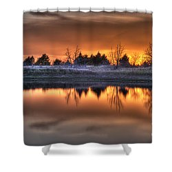 Sunset Over Bryzn Shower Curtain by Art Whitton