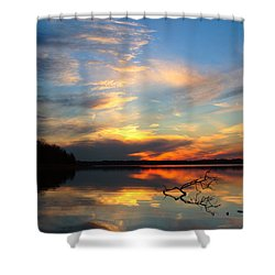 Sunset Over Calm Lake Shower Curtain