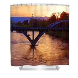 Sunset Over Caveman Bridge Shower Curtain by Mick Anderson