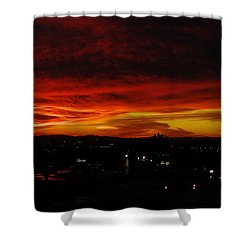 Sunset Over L.a. Shower Curtain by Mike Herdering