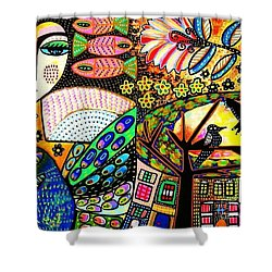 -sunset Peacock Goddess Shower Curtain