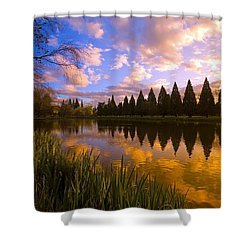 Sunset Reflection On A Pond, Portland Shower Curtain by Craig Tuttle