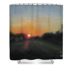 Sunset Road Shower Curtain by Jindra Noewi