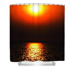 Shower Curtain featuring the photograph sunset Santorini Greece by Colette V Hera  Guggenheim