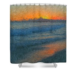 Sunset Surfers Shower Curtain by Heidi Smith