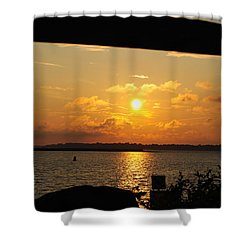 Shower Curtain featuring the photograph Sunset Through The Rails by Michael Frank Jr