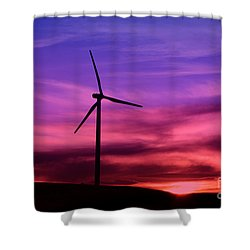 Shower Curtain featuring the photograph Sunset Windmill by Alyce Taylor
