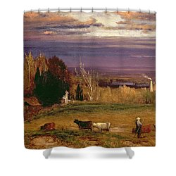 Sunshine After Storm Or Sunset Shower Curtain by George Snr Inness