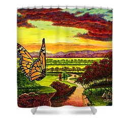 Sunshine Traveler-monarch Shower Curtain