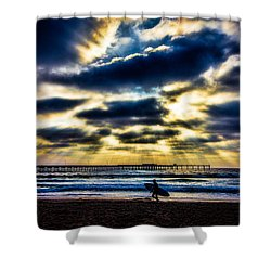 Surfer At Pacific Beach Shower Curtain by Chris Lord