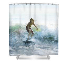 Surfer On A Morning Wave Shower Curtain by Francesa Miller