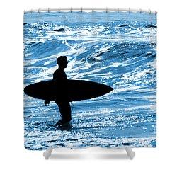Surfer Silhouette Shower Curtain by Carlos Caetano