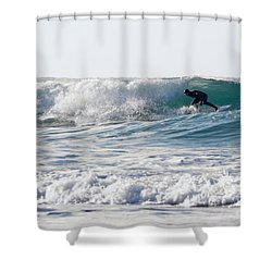 Surfers At Porthtowan Cornwall Shower Curtain by Brian Roscorla