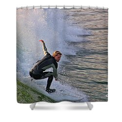 Surfin' The Wave Shower Curtain by Mariola Bitner