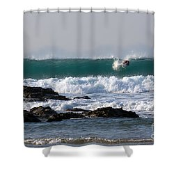 Surfing In Cornwall Shower Curtain by Brian Roscorla