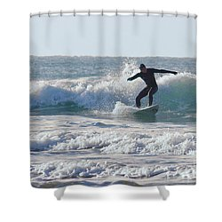 Surfing The Atlantic Shower Curtain by Brian Roscorla