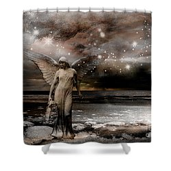 Surreal Fantasy Celestial Angel With Stars Shower Curtain by Kathy Fornal