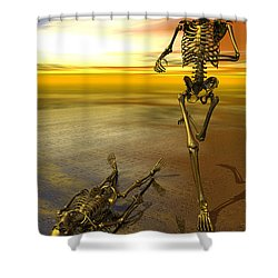 Surreal Skeleton Jogging Past Prone Skeleton With Sunset Shower Curtain by Nicholas Burningham