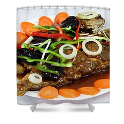 Sweet And Sour Fish Chinese Food Shower Curtain by Paul Ge