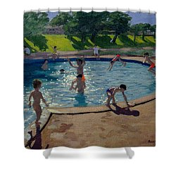 Swimming pool painting by andrew macara Swimming pool shower curtain