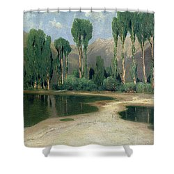 Swiss Landscape Shower Curtain by Alexandre Calame