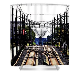 Switch Tracks Shower Curtain