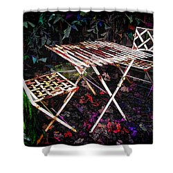 Table And Chairs Shower Curtain by Joan  Minchak