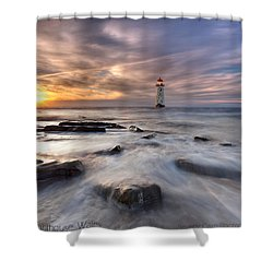 Talacre Lighthouse  Shower Curtain by Beverly Cash