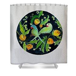 Talkative Parakeets Shower Curtain by Sonali Gangane