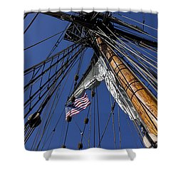Tall Ship Rigging Shower Curtain by Garry Gay