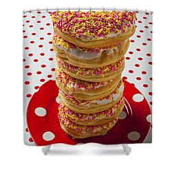 Tall Stack Of Donuts Shower Curtain by Garry Gay