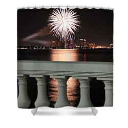 Tampa Bay Fireworks Shower Curtain by David Lee Thompson
