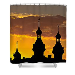 Shower Curtain featuring the photograph Tampa Bay Hotel Minarets At Sundown by Ed Gleichman