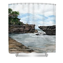 Shower Curtain featuring the painting Tanah Lot Temple II Bali Indonesia by Melly Terpening