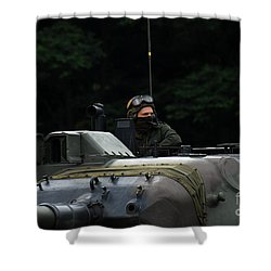 Tank Commander Of A Leopard 1a5 Mbt Shower Curtain by Luc De Jaeger