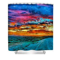 Taos Sunset Iv Wc Shower Curtain
