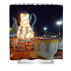 Shower Curtain featuring the photograph Tea Pot And Cups Ride by Renee Trenholm