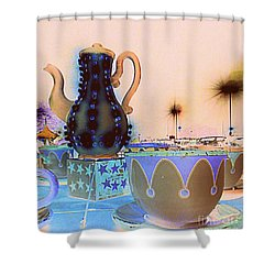 Shower Curtain featuring the photograph Tea Pot And Cups Ride With Inverted Colors by Renee Trenholm