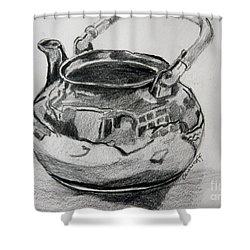 Teapot Reflections Shower Curtain by Jan Bennicoff