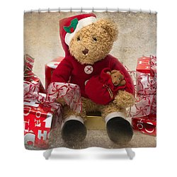 Teddy At Christmas Shower Curtain by Louise Heusinkveld