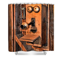 Telephone - Antique Hand Cranked Phone Shower Curtain by Paul Ward