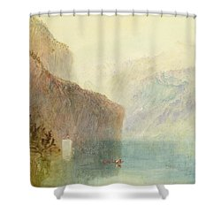 Tell's Chapel - Lake Lucerne Shower Curtain by Joseph Mallord William Turner