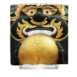 Temple Statue Shower Curtain by Adrian Evans