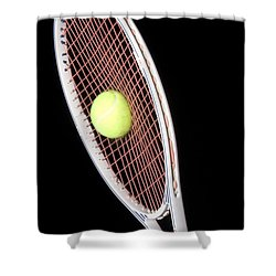 Tennis Ball And Racket Shower Curtain by Ted Kinsman