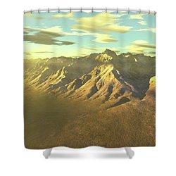 Terragen Render Of Mt. Whitney Shower Curtain by Rhys Taylor
