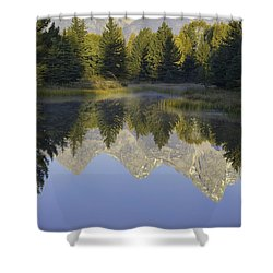 Teton Morning Reflections Shower Curtain